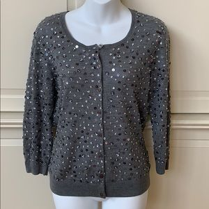 Gray Silver Sequin Cardigan